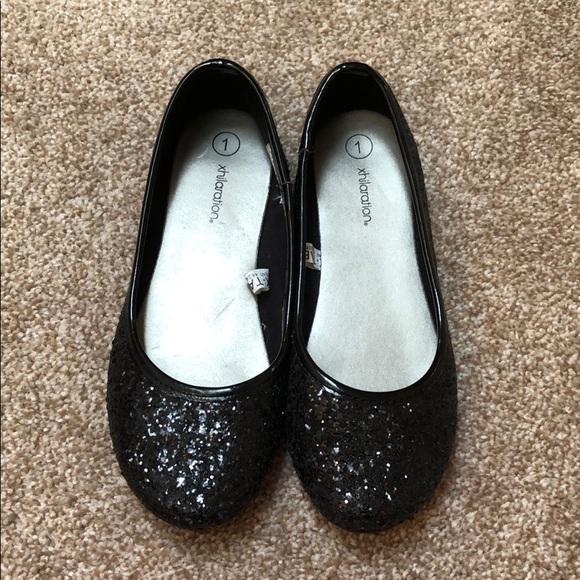Little Girls Black Sparkly Flats